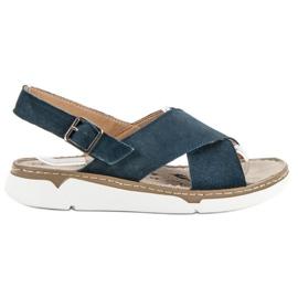 Filippo blauw Leren sandalen op het platform