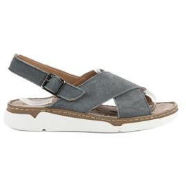 Filippo Leren sandalen op het platform grijs