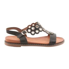 Zwarte sandalen voor vrouwen zircons Sergio Leone