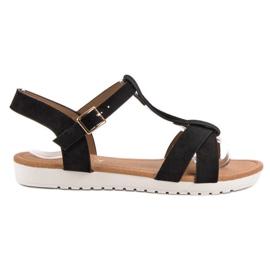 EXQUILY zwart Klassieke suede sandalen