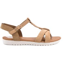 EXQUILY bruin Klassieke suede sandalen
