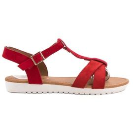 EXQUILY rood Klassieke suede sandalen