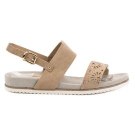 Evento bruin Beige opengewerkte sandalen
