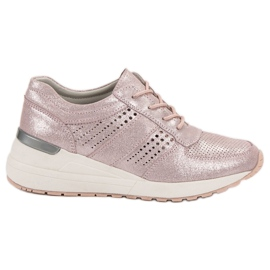 Filippo roze Wedge-sneakers met leer