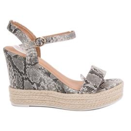 Ideal Shoes grijs Stijlvolle sandalen op sleehak