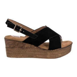 Primavera Zwarte sleehak sandalen