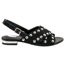 Kylie Zwarte sandalen bevestigd met een gesp