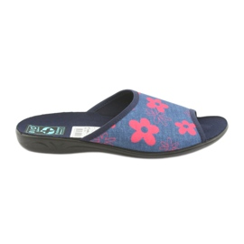 Damesslippers in bloemen Adanex marineblauw