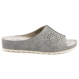Goodin Opengewerkte slippers grijs