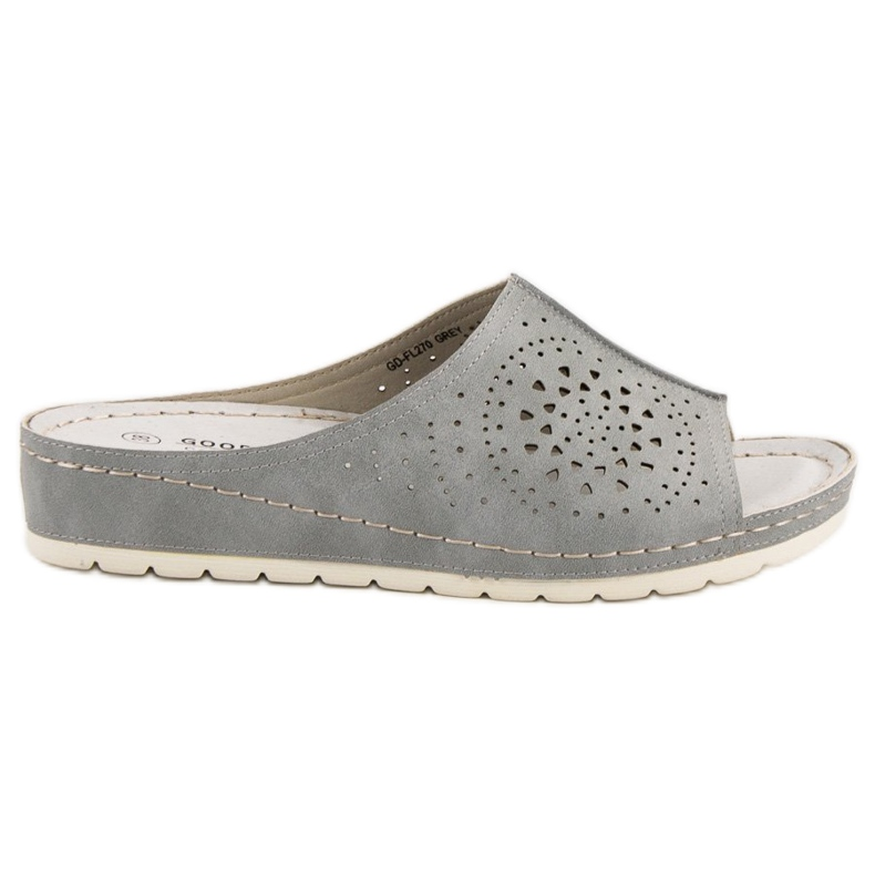 Goodin opengewerkte grijze damespantoffels grijs