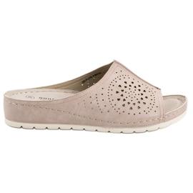 Goodin bruin Opengewerkte slippers