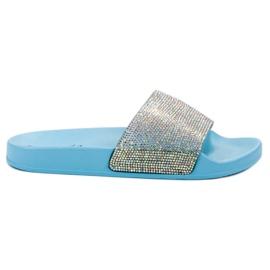 Bello Star blauw Slippers Met kristallen