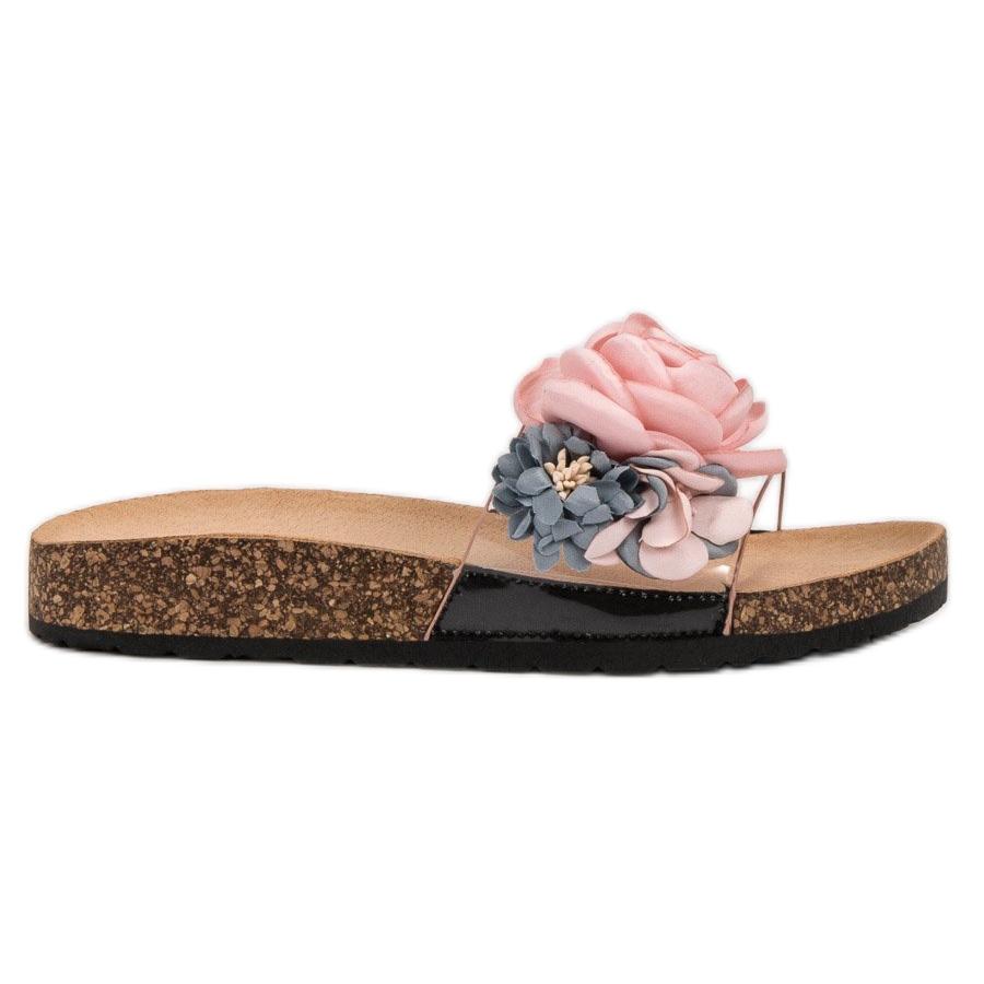 80f4937d33a050 Super Me roze Slippers met bloemen - ButyModne.pl