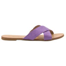 Primavera Comfortabele platte slippers purper