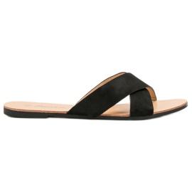Primavera Comfortabele platte slippers zwart