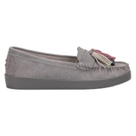 Filippo grijs Leren loafers met franjes