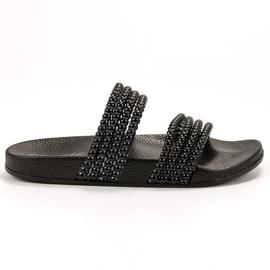 Bello Star zwart Slippers met kralen