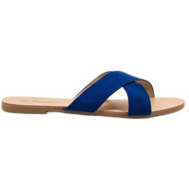 Primavera blauw Comfortabele platte slippers