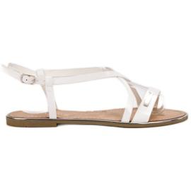 Anesia Paris wit Gelakte platte sandalen