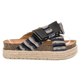 Vices zwart Textiel-slippers op het platform