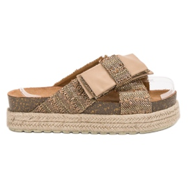Vices bruin Textiel-slippers op het platform