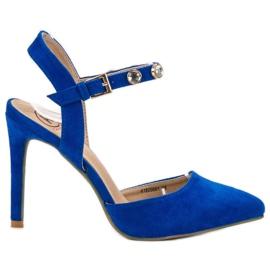 Kylie blauw Stiletto's met een zichtbare hak