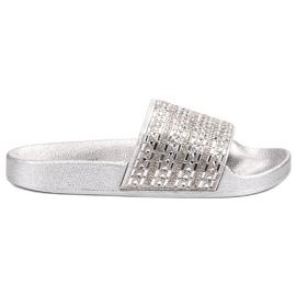 Queen Vivi Slippers Met kristallen grijs