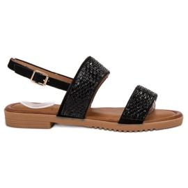 Primavera Zwarte sandalen met kristallen