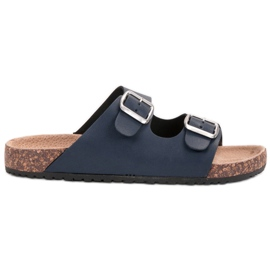 Seastar blauw Navy Slippers met gesp