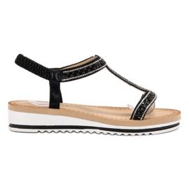 Bestelle zwart Slip-on Wedges Sandalen