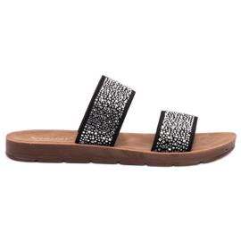 Seastar zwart Slippers met zirkonen
