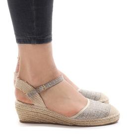 Grijs Grijze sandalen met sleehak LLI-3M88-7 espadrilles