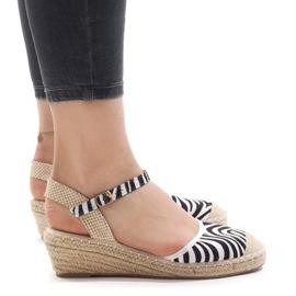 Gestreepte sandalen op espadrilles met sleehak LLI-3M88-7