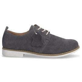 Leren veter-schoenen LJ12 grijs