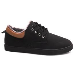 Geïsoleerde sneakers met bont E655-1 zwart