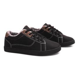 Geïsoleerde sneakers met bont E754M-1 zwart
