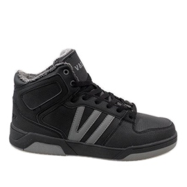 Zwarte hoge sneakers met bont M667-2