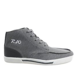 Grijze elegante hoge schoenen F10455 grijs