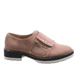 Roze slip-on brogues met U-6249 studs