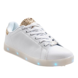 Witte glimmende sneakers 7-P7936F1-12