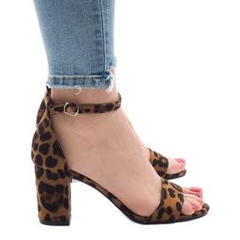 Luipaard sandalen met vijf hakken 5102