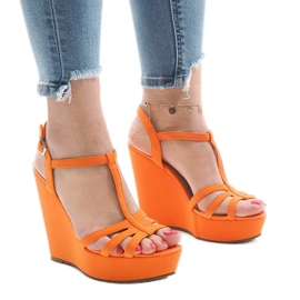 Oranje sleehak sandalen A-8A
