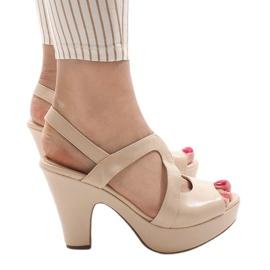 Bruin Beige BL1501 sandalen met hoge hakken