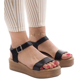 Zwarte sandalen op platform 22-07