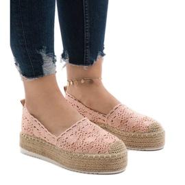 Roze sneakers espadrilles op platform 7801-P