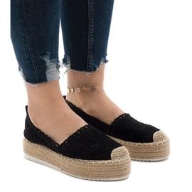 Zwarte sneakers espadrilles op platform 7801-P