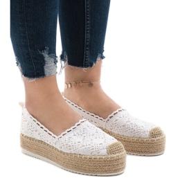 Witte sneakers espadrilles op platform 7801-P