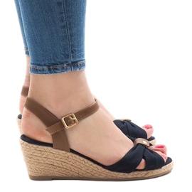 Donkerblauwe sandalen op espadrilles met sleehak 1484-13