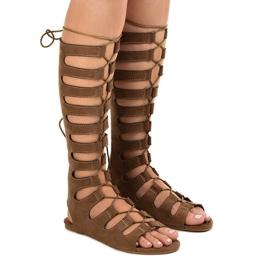 Bruine platte gladiator sandalen 289-9