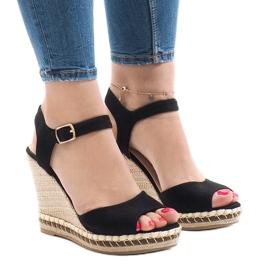 Zwarte suede sandalen met sleehak LM-8006